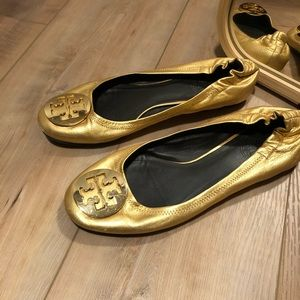 Tory Burch Gold Metallic Flats